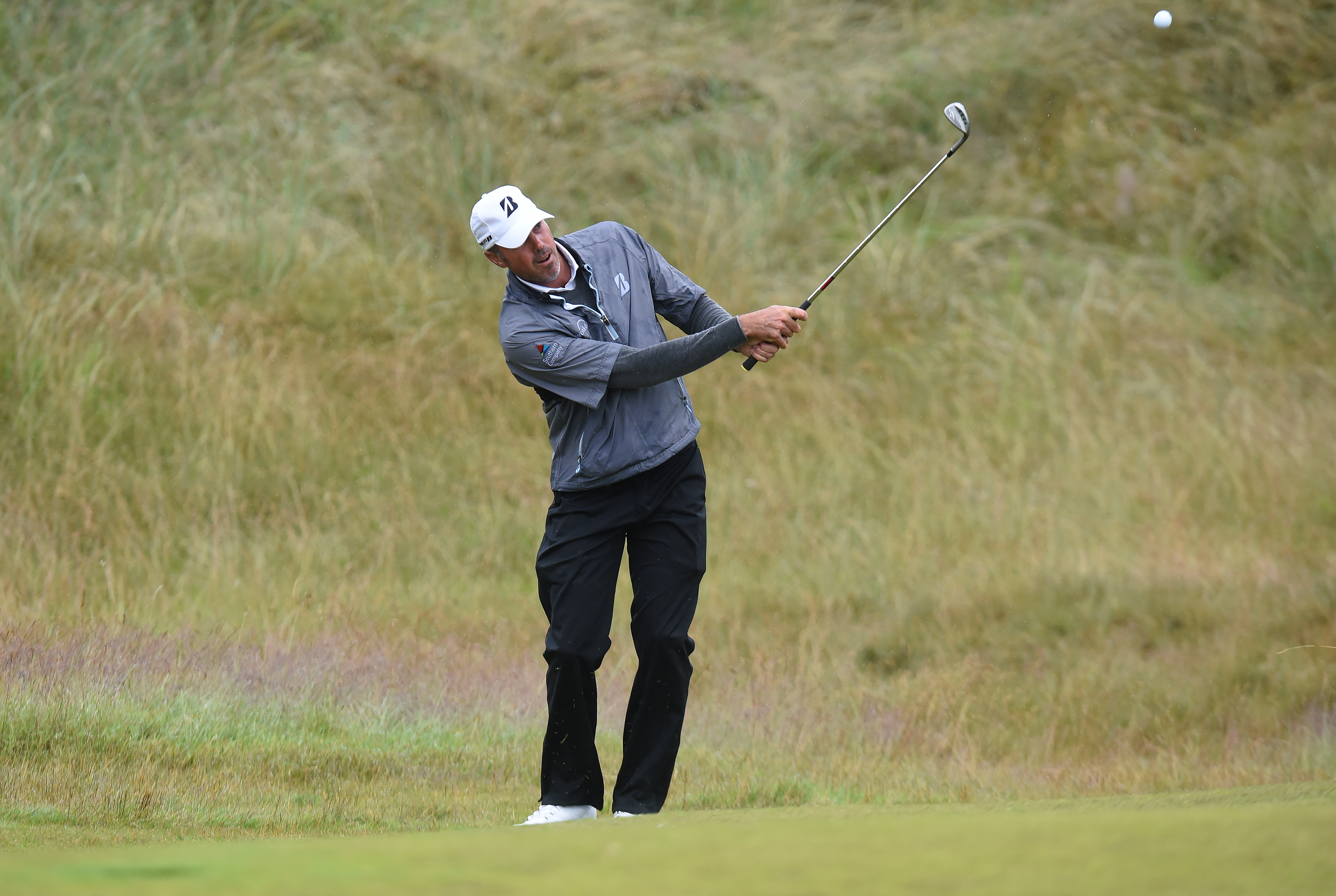 NORTH BERWICK, SCOTLAND - JULY 09: Matt Kuchar of USA playing a practice round with EDGA Pro Mike Browne of England ahead of the Aberdeen Standard Investments Scottish Open at The Renaissance Club on July 9, 2019 in North Berwick, United Kingdom. (Photo by Mark Runnacles/Getty Images)