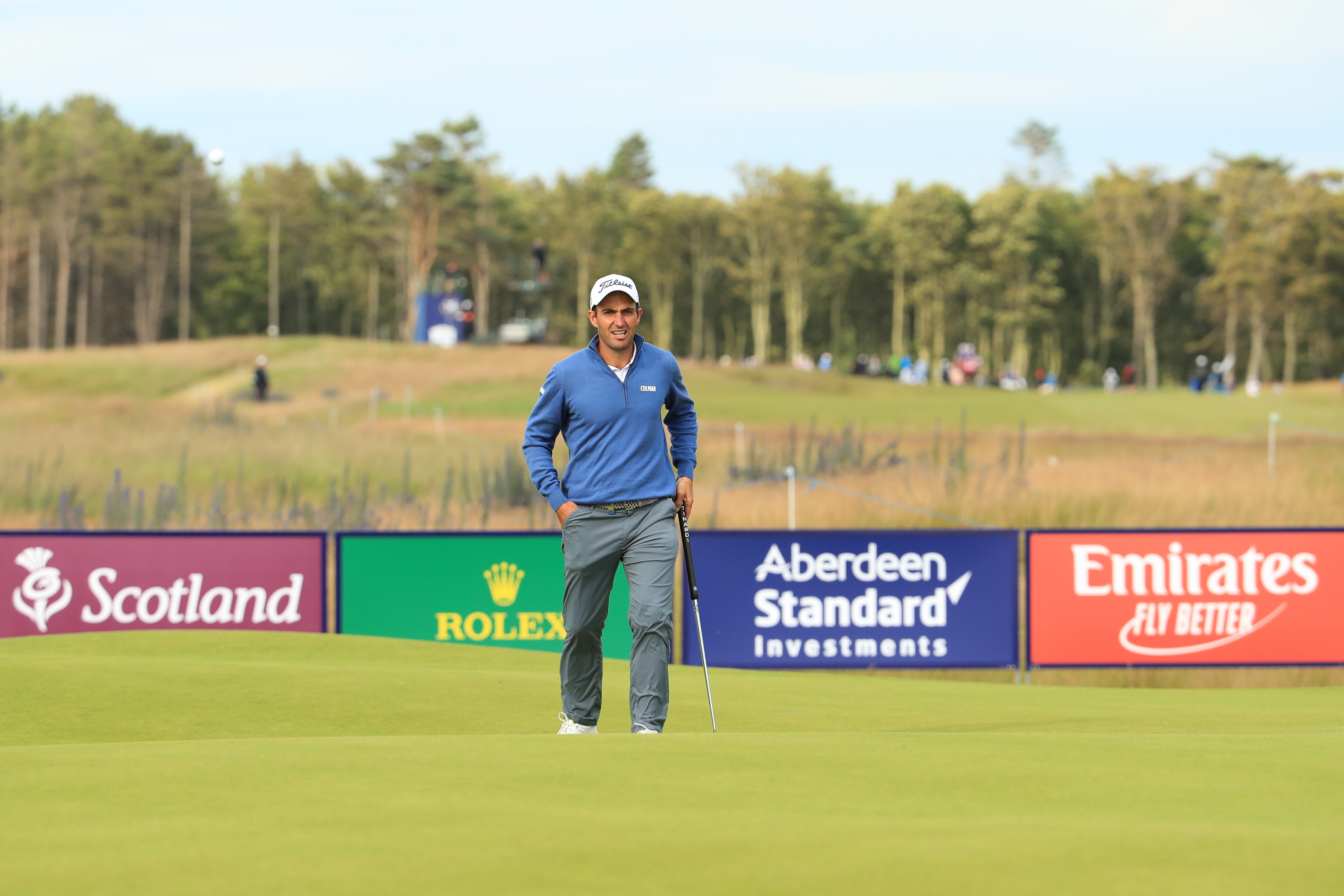 Edoardo Molinari walks to the green of the 9th hole during day 1 of the Aberdeen Standard Investments Scottish Open at The Renaissance Club. (Photo by Andrew Redington/Getty Images)