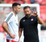 Aberdeen manager Derek McInnes issues instructions to Andrew Considine