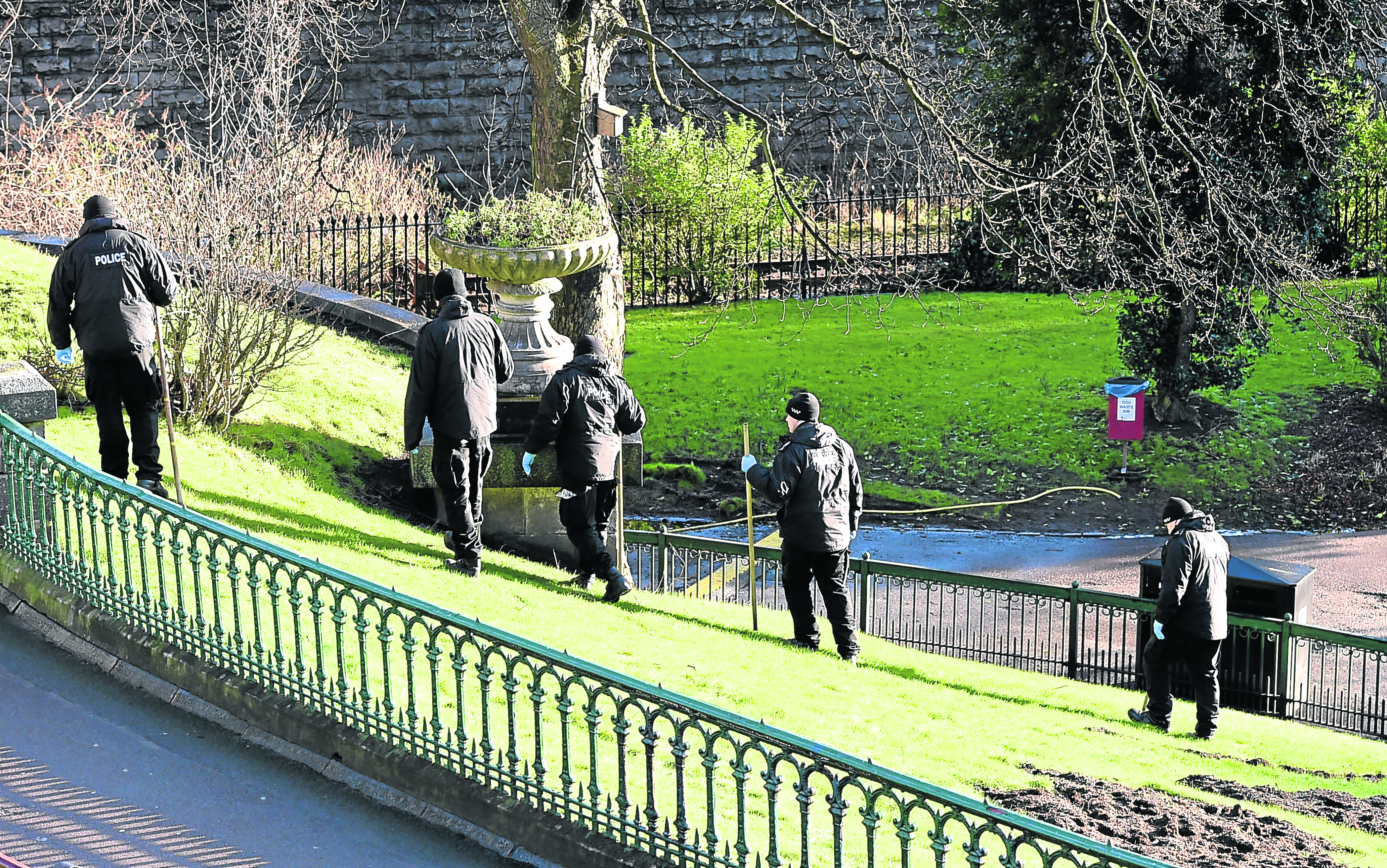 Police Scotland officers search Union Terrace Gardens following the assault Aberdeen