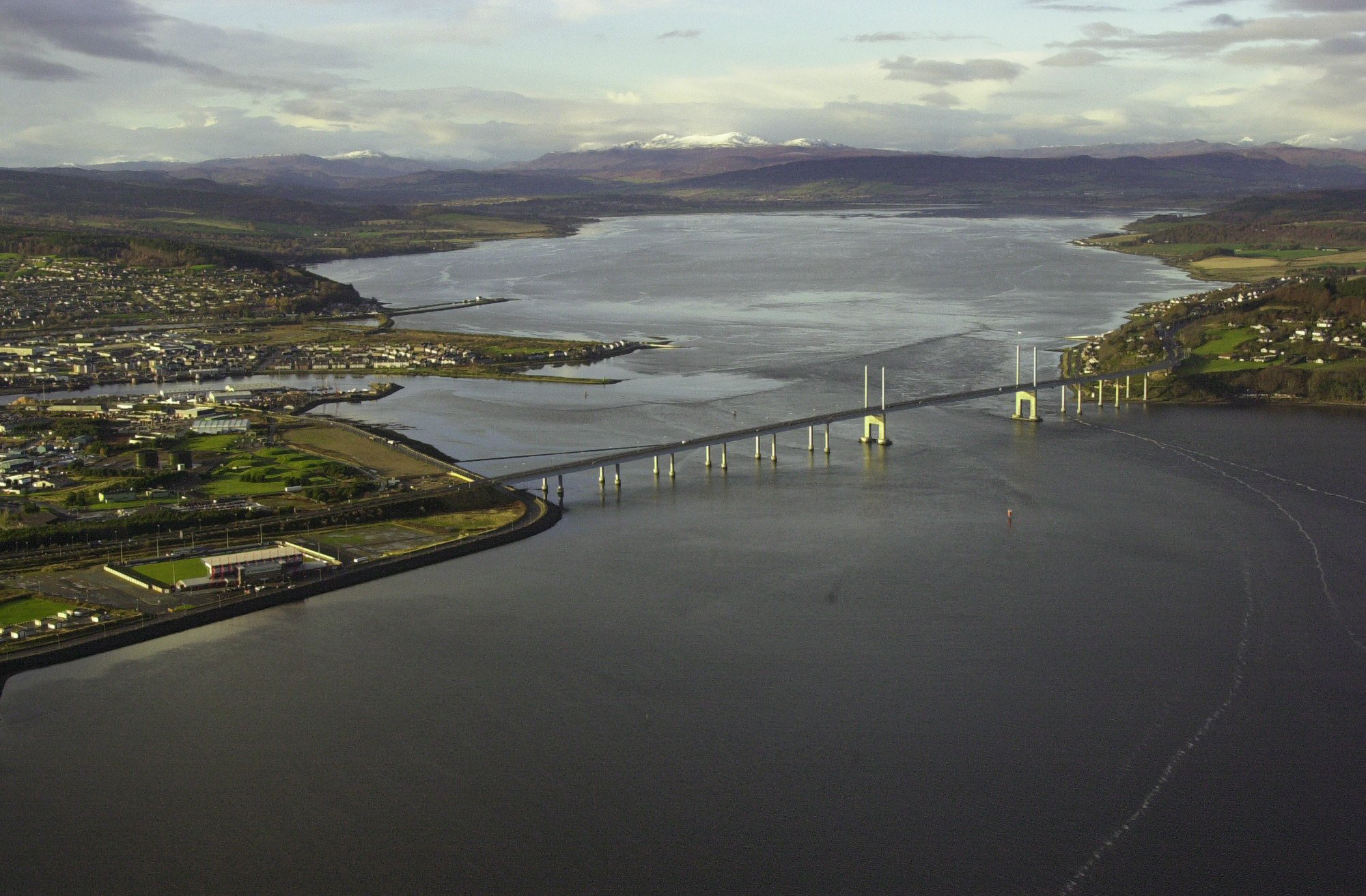 The Kessock Bridge at Inverness with the Beauly Firth beyond.