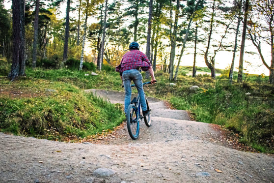 RGU students taking part in a mountain biking event at Tarland Trails in Drummy Woods in October. Submitted by Laura Ferguson 10/11/17.