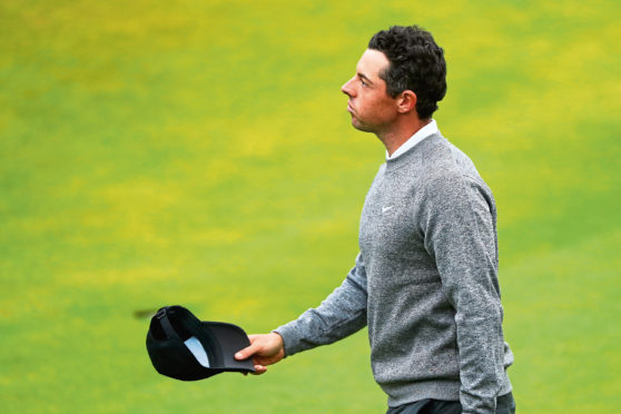 Rory McIlroy of Northern Ireland reacts on the 18th during the second round of the 148th Open Championship held on the Dunluce Links at Royal Portrush Golf Club on July 19, 2019 in Portrush, United Kingdom. (Photo by Francois Nel/Getty Images)