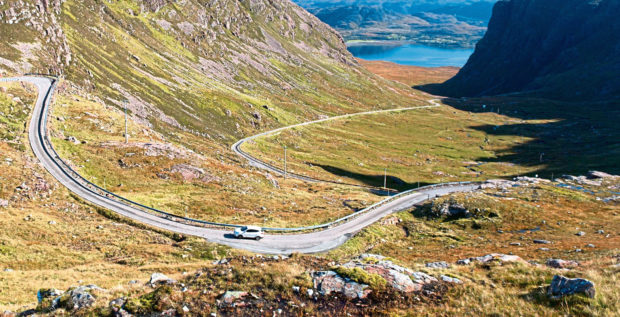 Bealach na ba (pass of the cattle) on the Applecross Peninsula, which is part of the North Coast 500 (NC500).