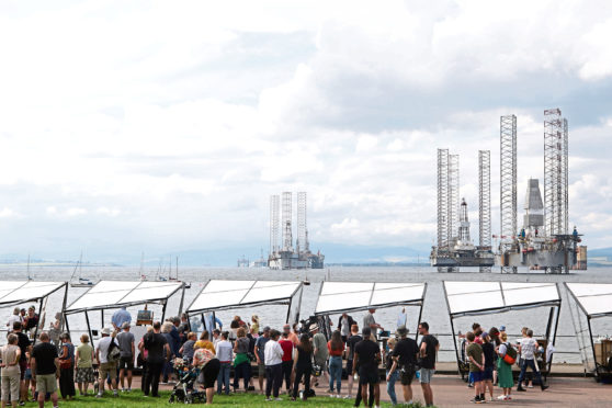 Cromarty, UK, 24 July 2019. Filming for a Sky Arts painting show. Credit: Andrew Smith