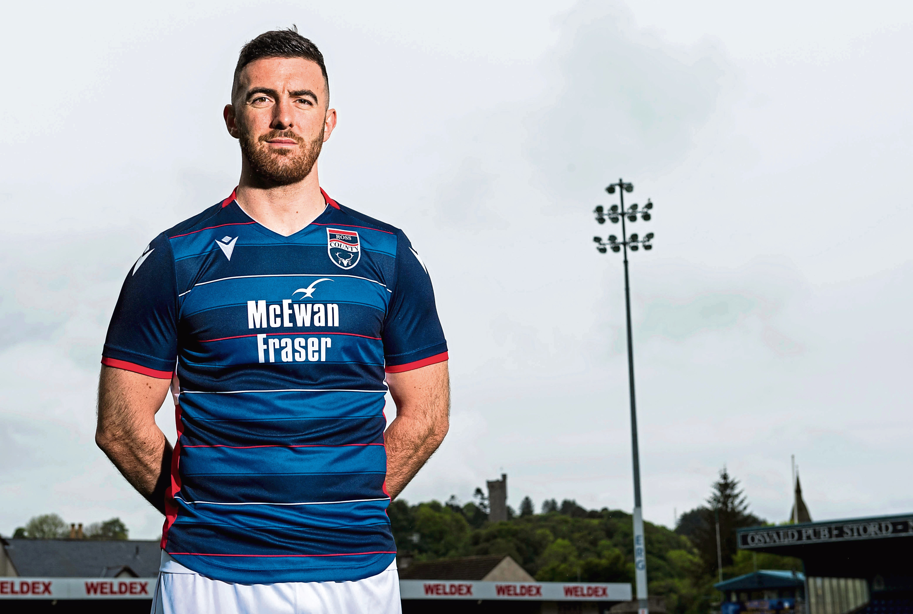 30/05/19 THE GLOBAL ENERGY ARENA - DINGWALL Ross County's Ross Draper models the clubs new 2019/2020 home kit.