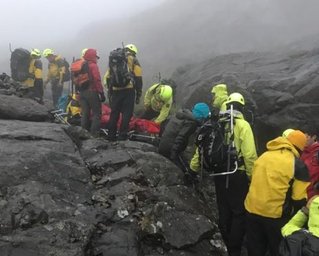 Owen Bell being rescued by Skye Mountain Rescue Team