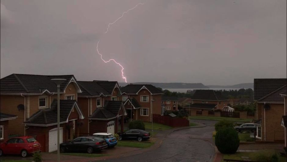 Lightning was visible from Culloden looking out onto the Moray Firth
