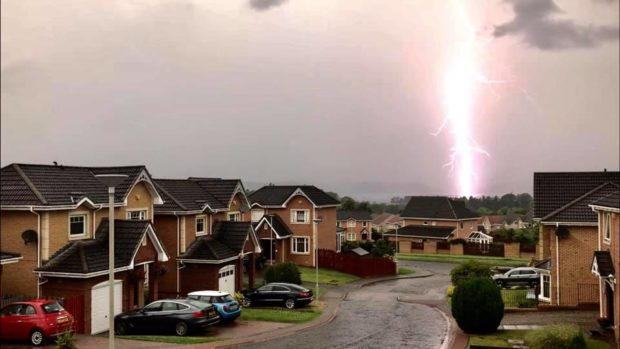 Lightning strike in Moray Park Crescent, Culloden, Inverness. Picture by Fiona Birnie, Maiden Culloden.