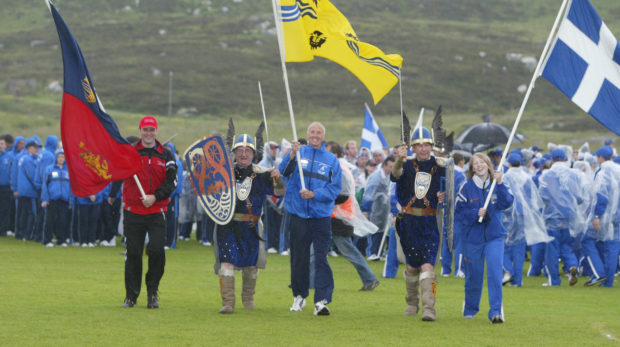 The three island groups Orkney, Westren isles and Shetland flag bearers at the Island games