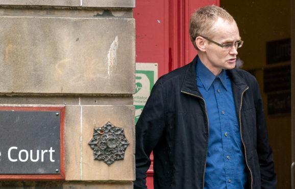 David Fraser leaving Elgin Sheriff Court.