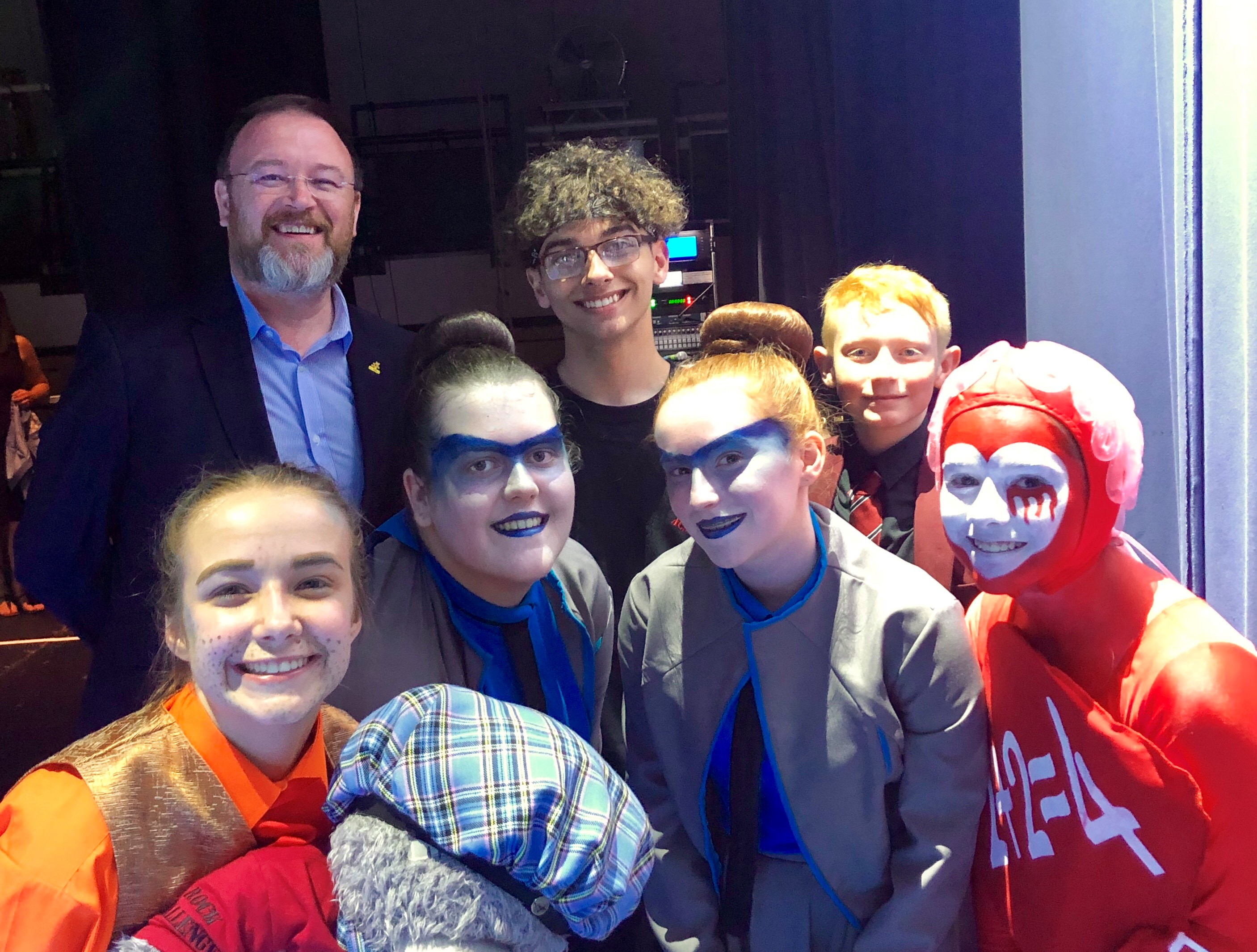 MP David Duguid with Peterhead Academy pupils at the Rock Challenge final