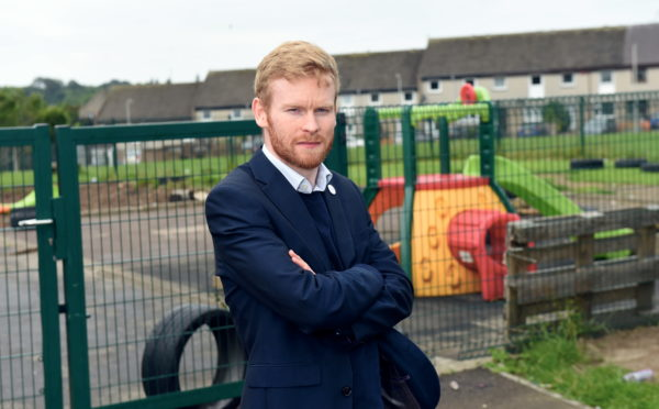 Riverbank School has been trashed around three times in the past few days. Pictured is Councillor Ross Grant. 17/07/19 Picture by HEATHER FOWLIE