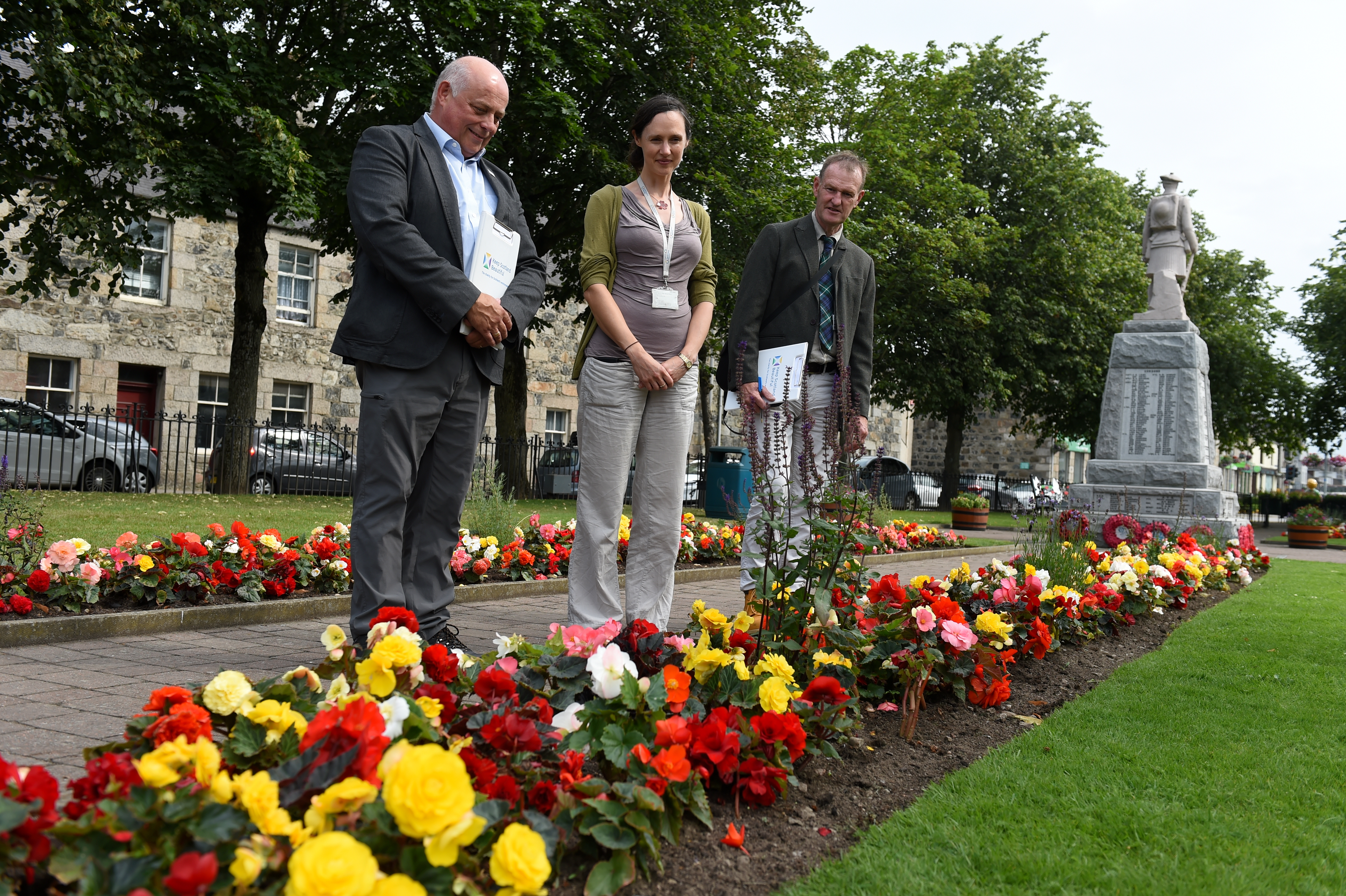 """Keep Scotland Beautiful judges was in Inverurie judging the town in the """"medium sized town"""" category.  Left to right, Sandy Scott, Juliette Camburn and Adrian Miles at Market Square."""