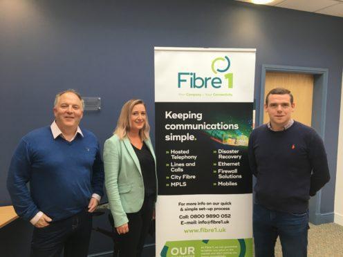 Douglas Ross at Fibre 1 with Stewart Macdonald and Lynn Stewart