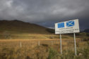 A road sign in Wester Ross promoting the European Regional Development Fund on the 4th November 2018 on the west coast of Scotland in the United Kingdom. The development fund is a partnership with the European Union and Scotland to invest in the Scottish future. (photo by Sam Mellish / In Pictures via Getty Images Images)