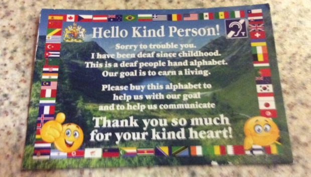 The card has been handed out in Culter, and is believed to be part of a hoax