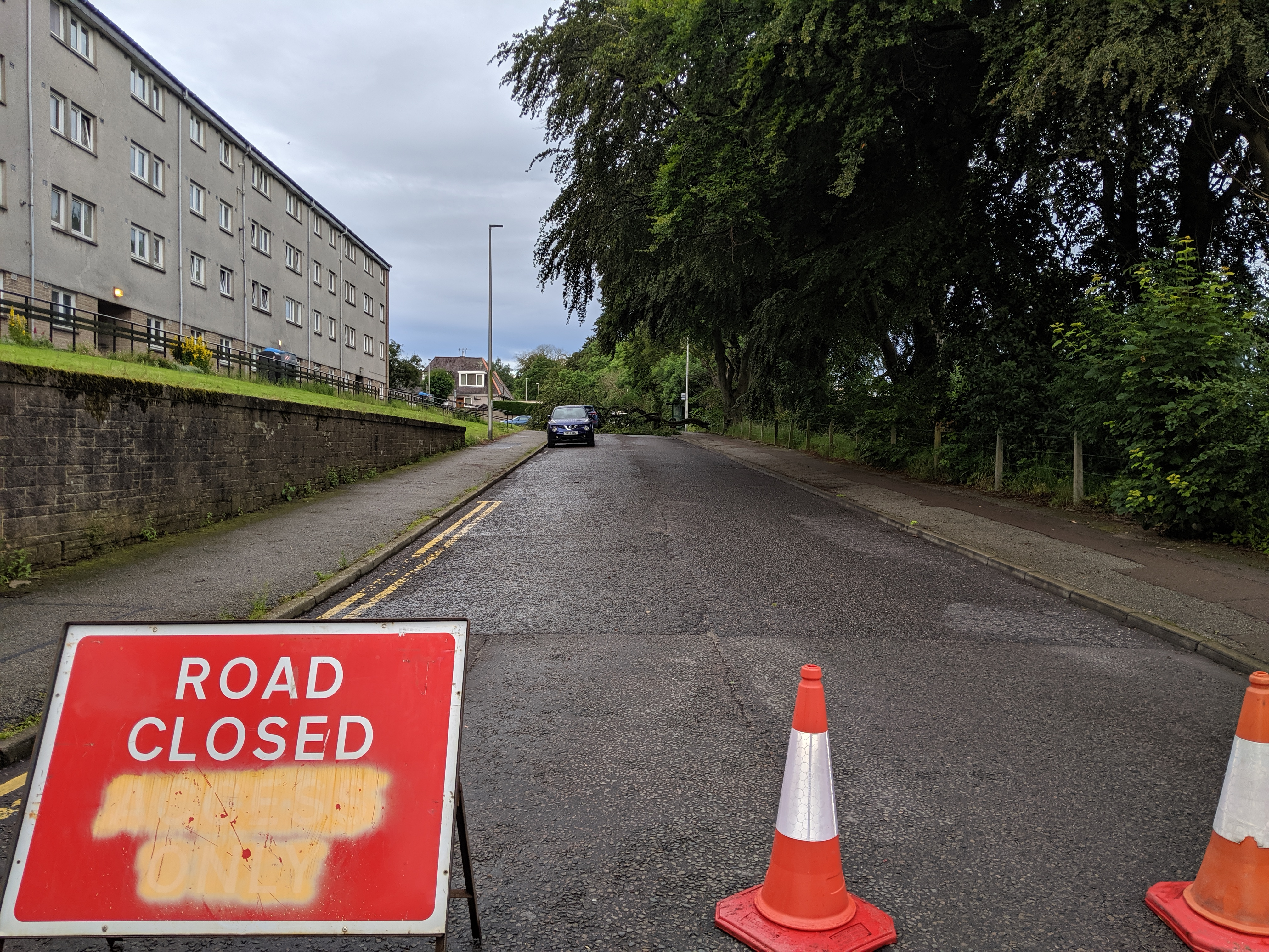 The road is currently closed. Picture by Emma Morrice.