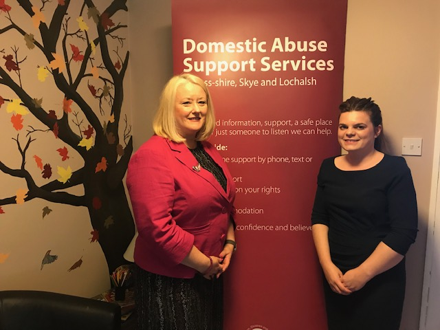 MSP Christina MacKelvie with Women's Aid manager Adele Newlands.