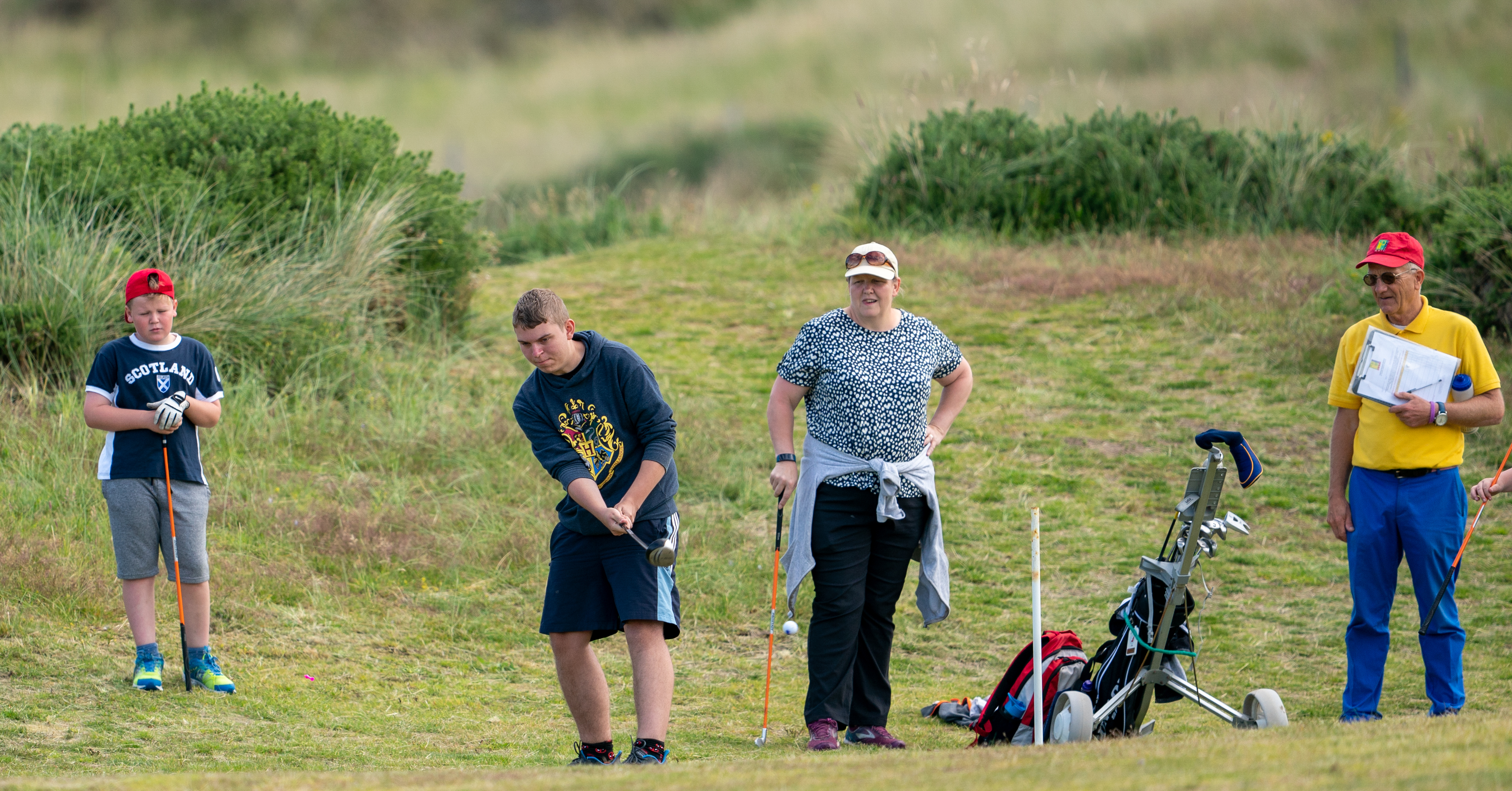 Ethan Howells tees off during the golf event at Covesea.
