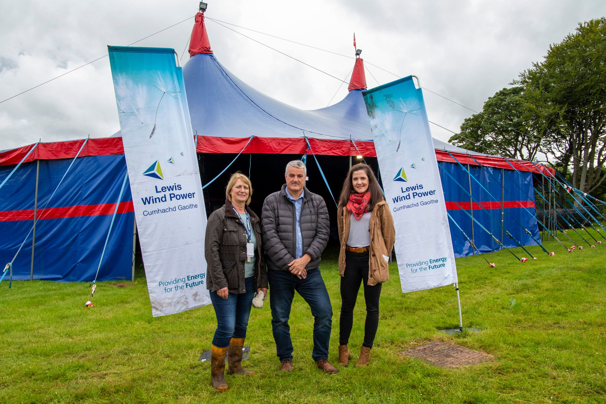 (left to right). Festival director Caroline Maclennan with Darren Cuming and Kerry MacPhee from Lewis Wind Power