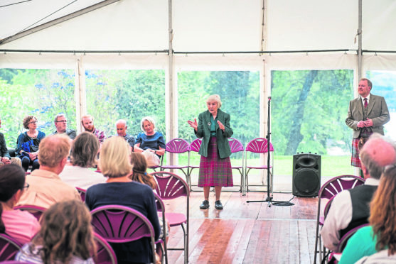 MacDougall Clan Gathering at Dunollie Castle. Morag MacDougall at the marquee. Picture by Lauren Fair