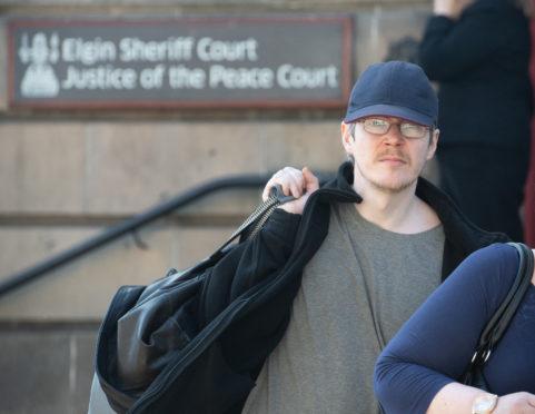 Matthew McCourt leaving Elgin Sheriff Court.