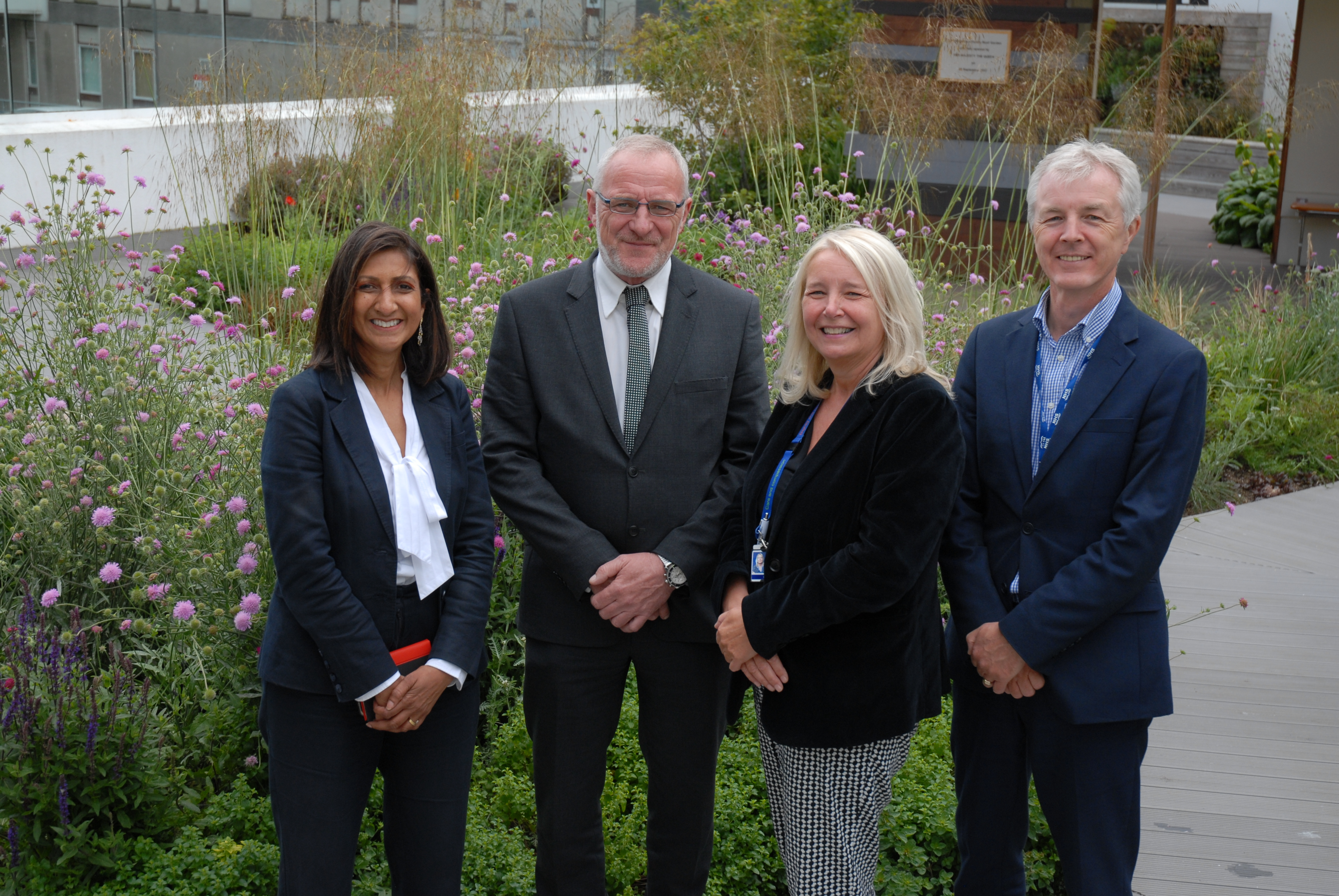 (l to r) Manju Patel, Programme Manager (Physical Infrastructure) at NHS Grampian, Graeme Lawtie, Operational Manager for Robertson, Louise McKessock, Clinical Redesign Manager at NHS Grampian and Graeme Smith, Director of Modernisation at NHS Grampian