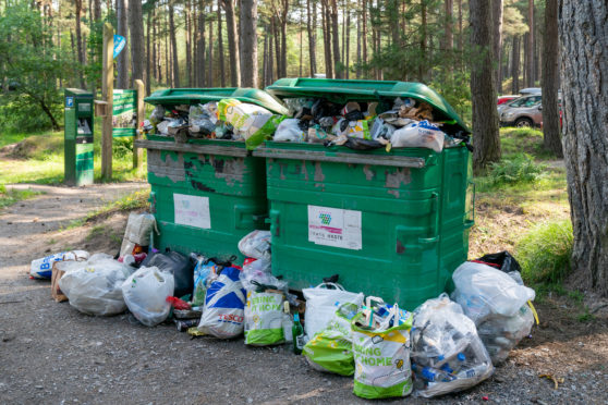 Bins at Roseisle Forest have been unable to cope with demand.