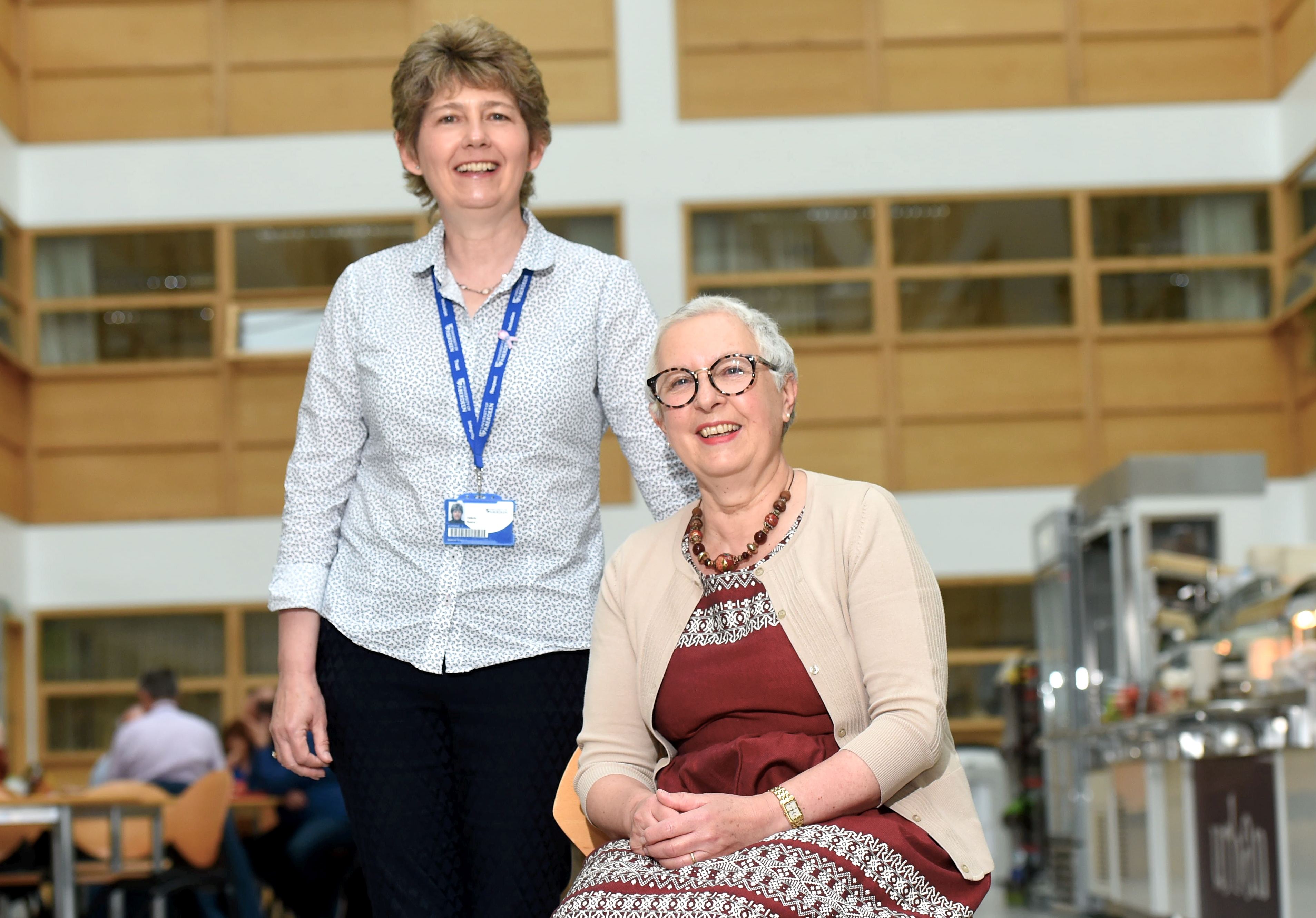 Valerie Speirs (L), Professor of Molecular Oncology and Breast Cancer Researcher and cancer patient Elaine Shallcross (R).