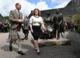 The Earl of Forfar arrives at Glenfiddich Distillery.