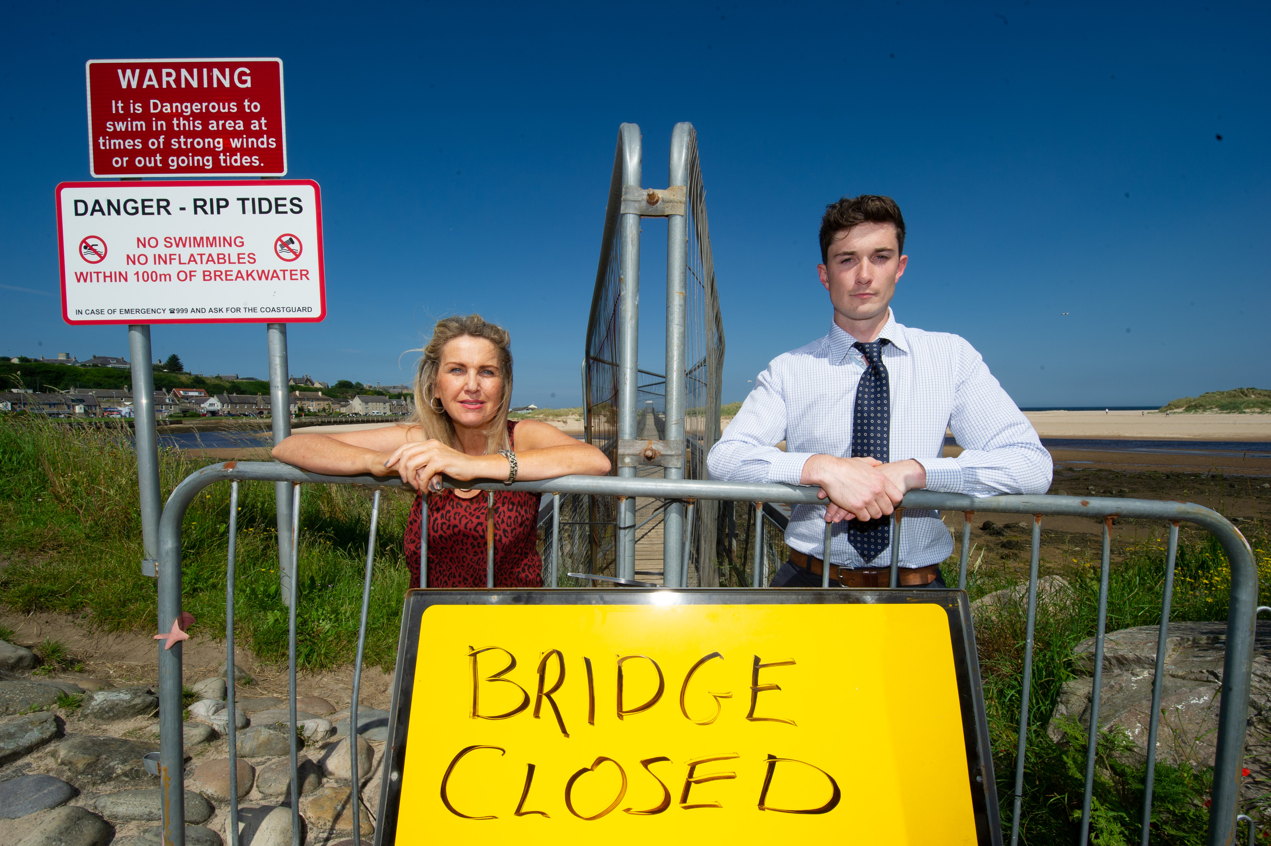 Carolle Relph, vice-chairwoman of Lossiemouth Community Council, and Huw Williams, development officer for Lossiemouth Community Development Trust, at the East Beach bridge in Lossiemouth.