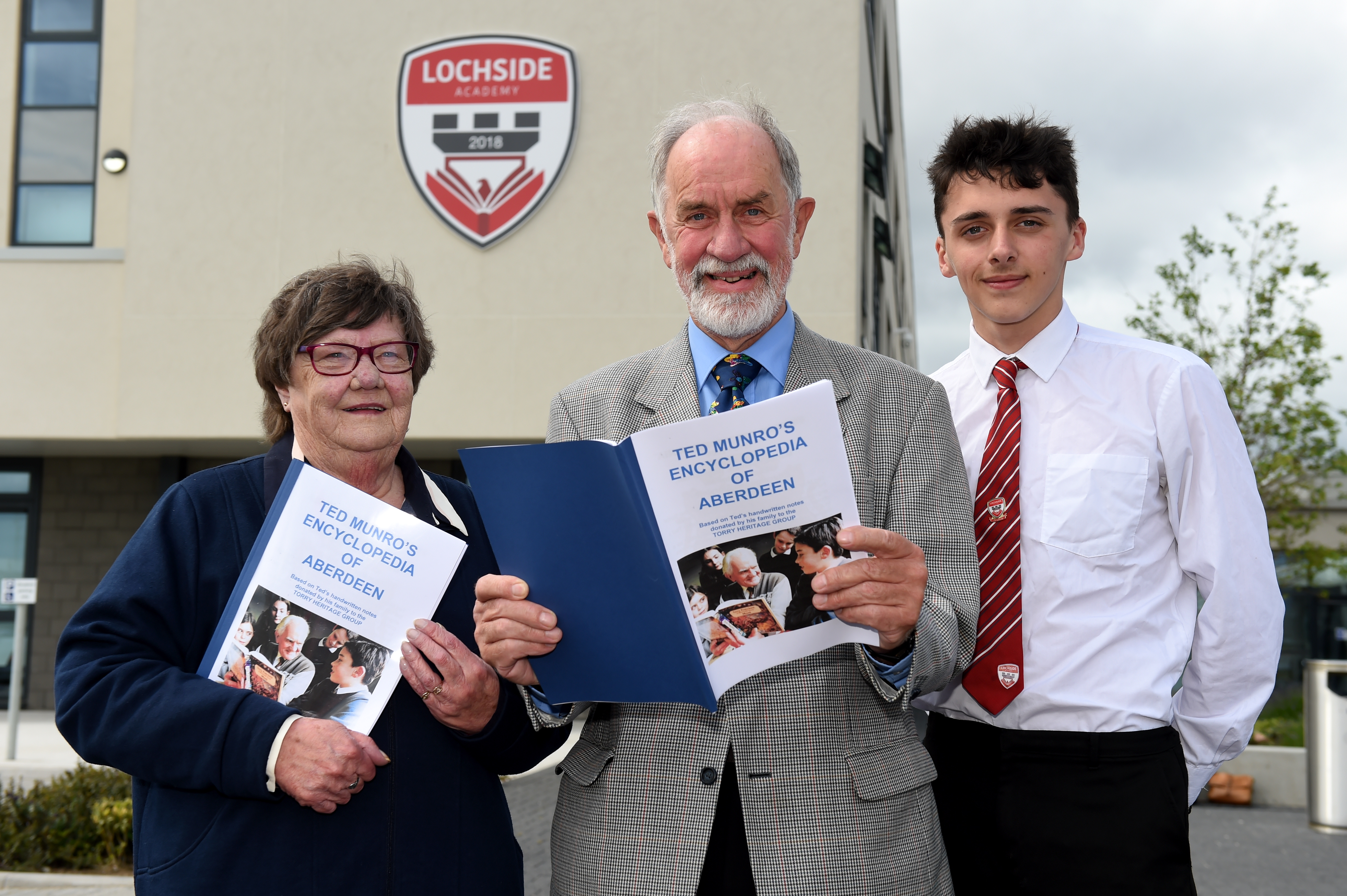 L-R: Ted Munro daughter Nina Cordrey, John Dunn (Torry Heritage Group chairman) and pupil Josh Milne, 16.