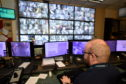 The police's CCTV control room in Aberdeen