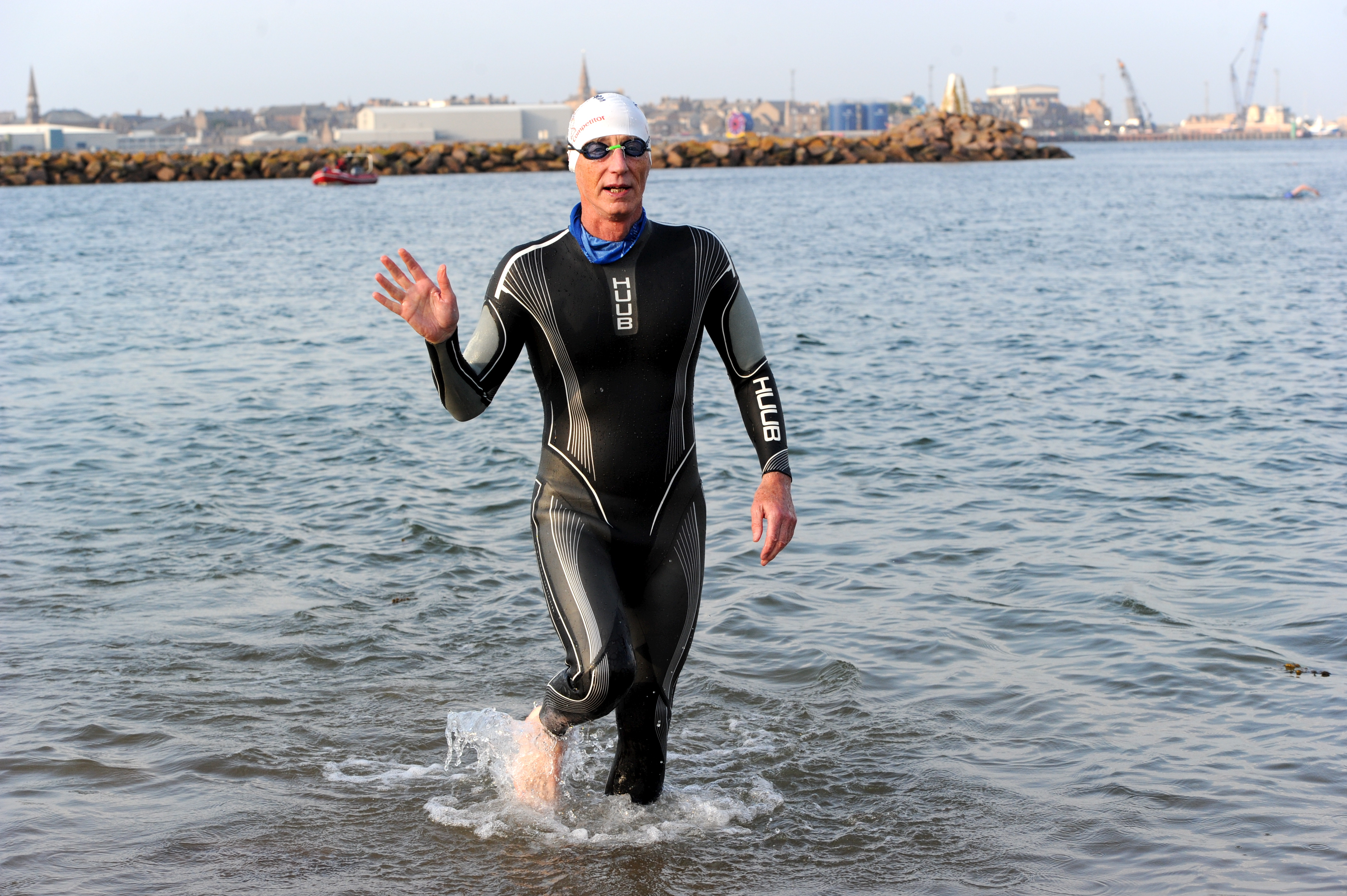 Swim winner, 68 year old Ian Milne.