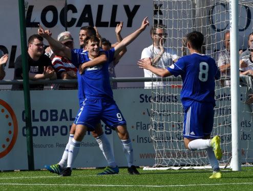 Chris Antoniazzi celebrates his goal against Raith Rovers.