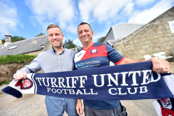 Graeme Mathieson (right) with current Turriff United boss Kris Hunter.