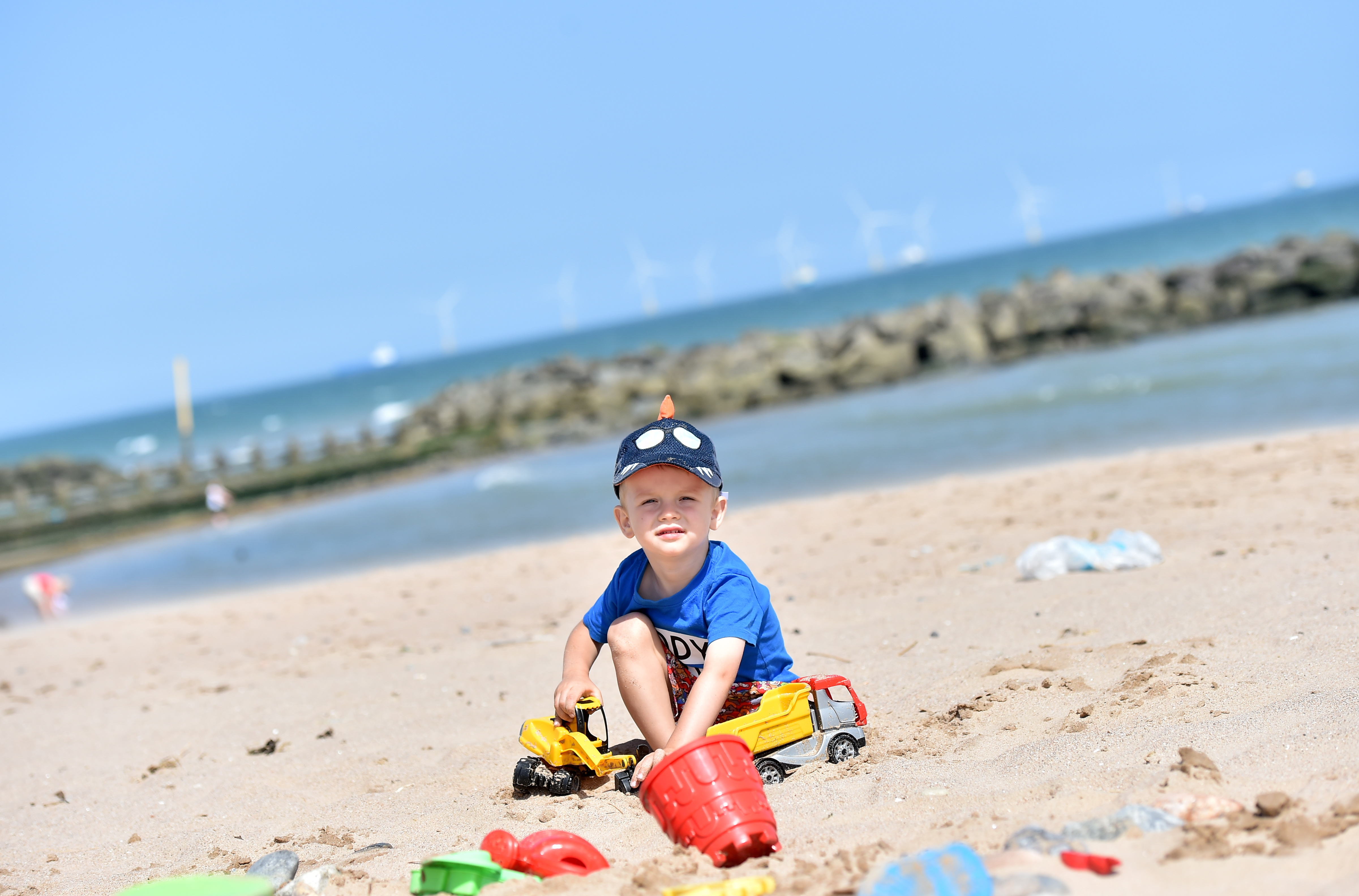 Piter Piotr enjoying his first summer on Aberdeen Beach.