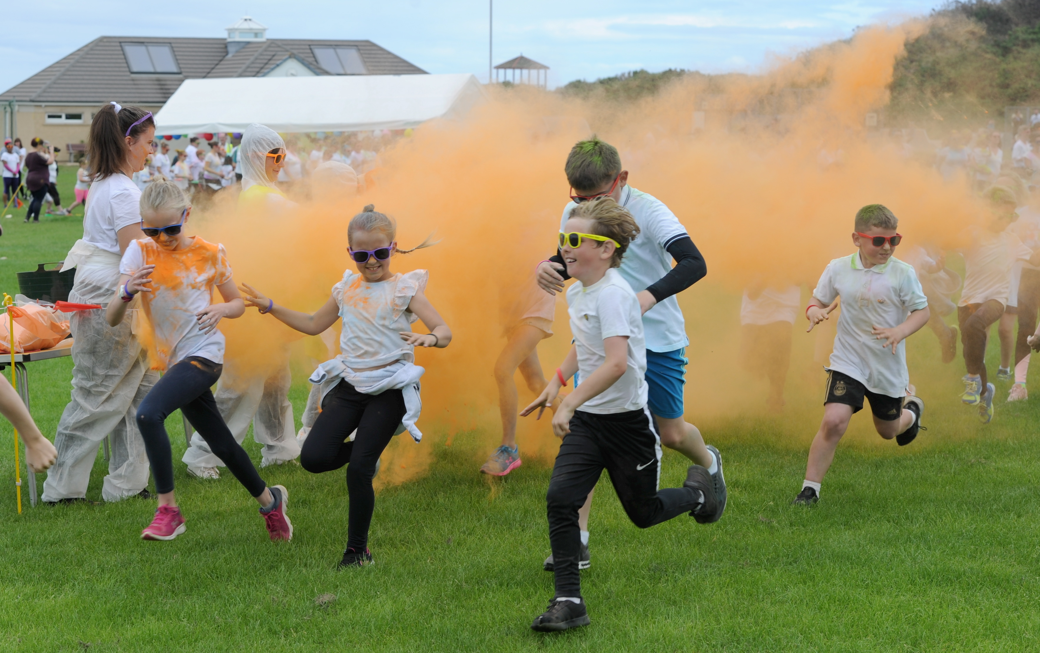 Participants take part in the Colour Run on Saturday held as part of the Hopeman Gala