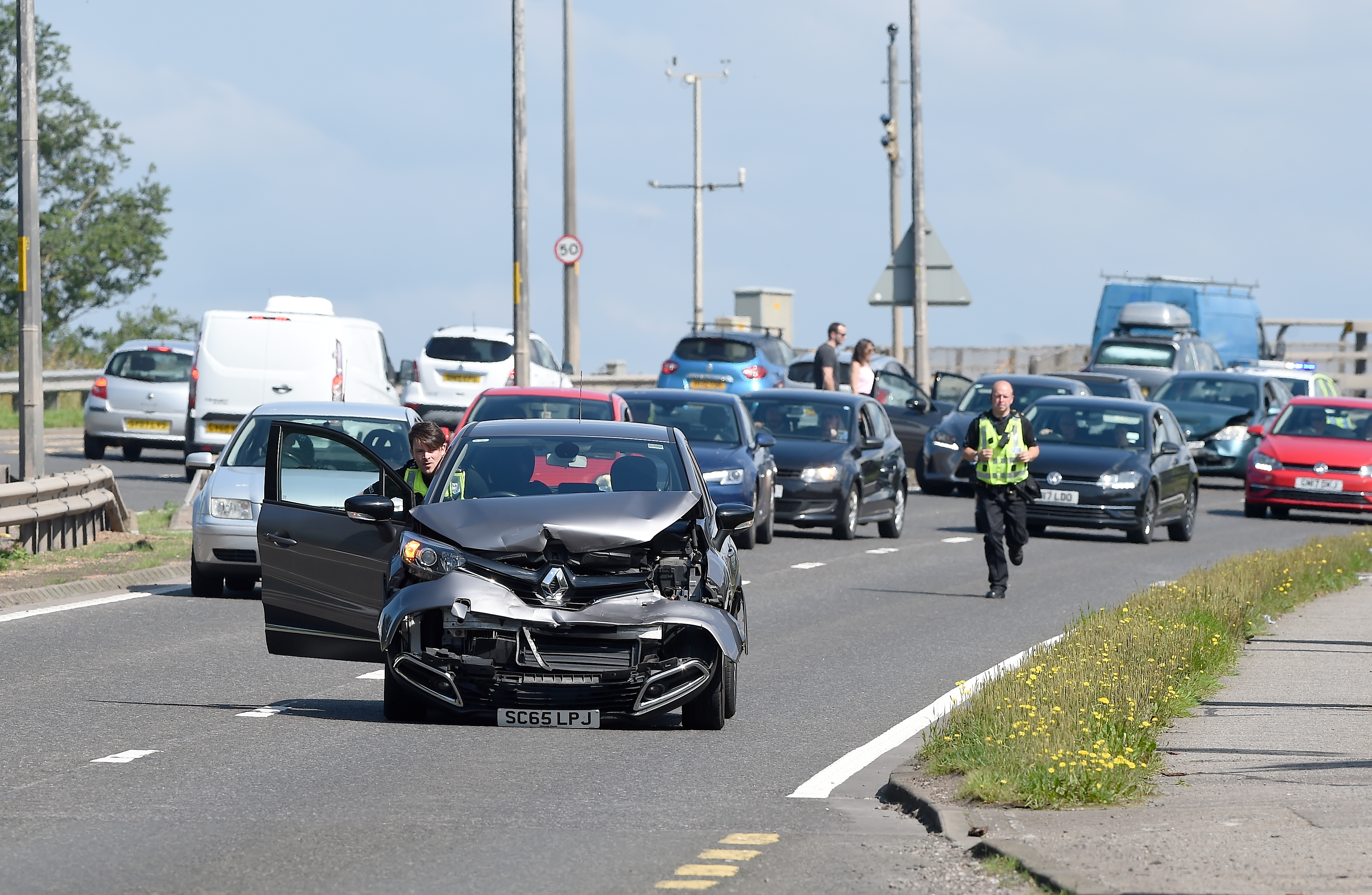 The police dealt with a series of accidents on the A9 over the Kessock Bridge yesterday. Picture by Sandy McCook