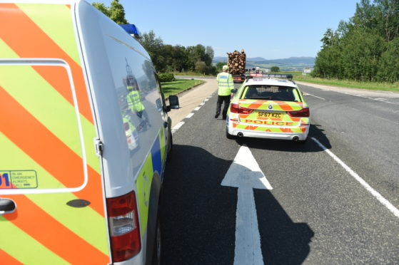 The scene of the collision on the A9.