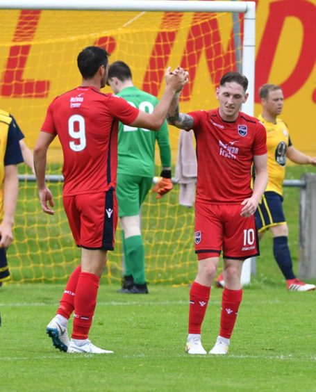 Ross County 10 Declan McManus in action celebrating   Pictures by JASON HEDGES