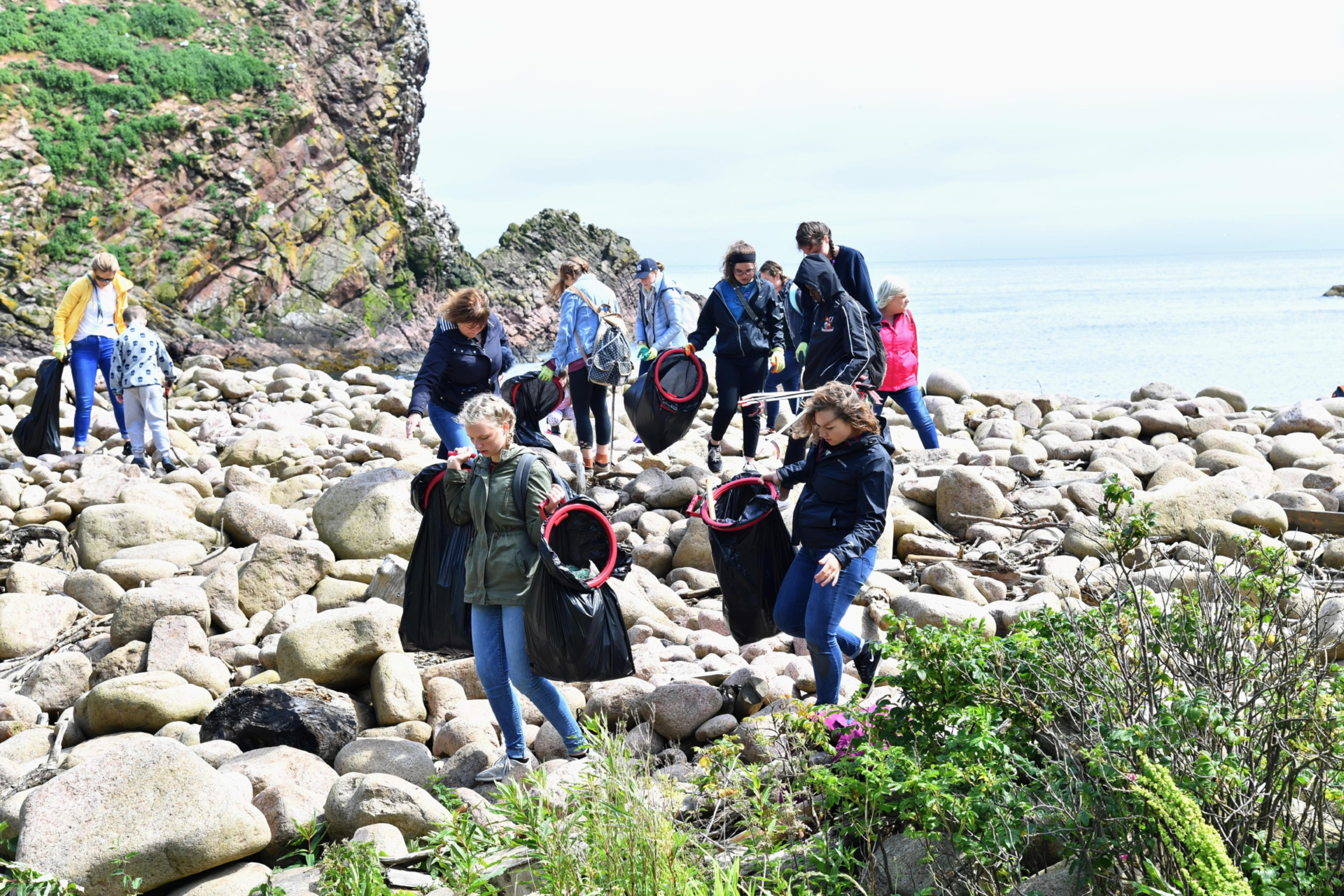 BEACH CLEAN AT NORTH HAVEN, NEAR THE BULLERS OF BUCHAN