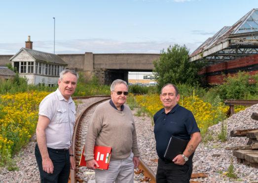 16 July 2019. Old Elgin Railway Station, Maisondieu Road, Elgin, Moray, Scotland, UK, IV30 1QP. This is R-L - MSP Richard Lochhead, George P Littlejohn, Rail Advisor and Community Cllr, Alastair Kennedy.