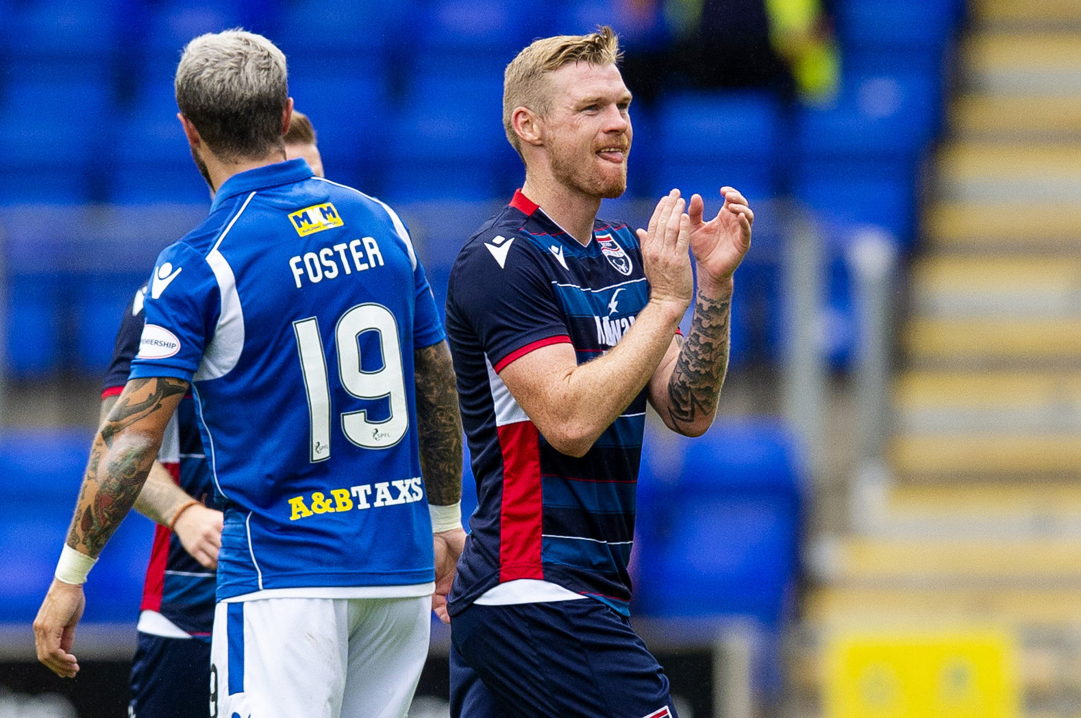 Ross County's Billy McKay applauds the fans at full time