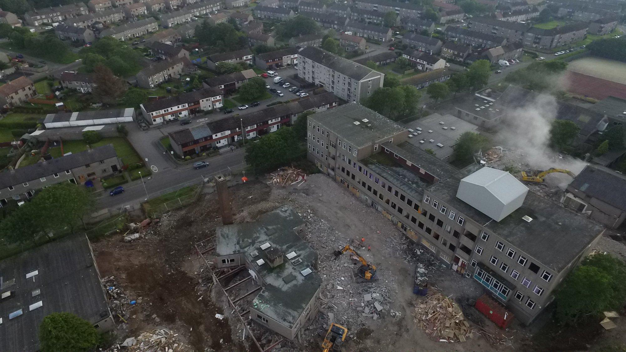 Bird's eye view of the school demolition.
