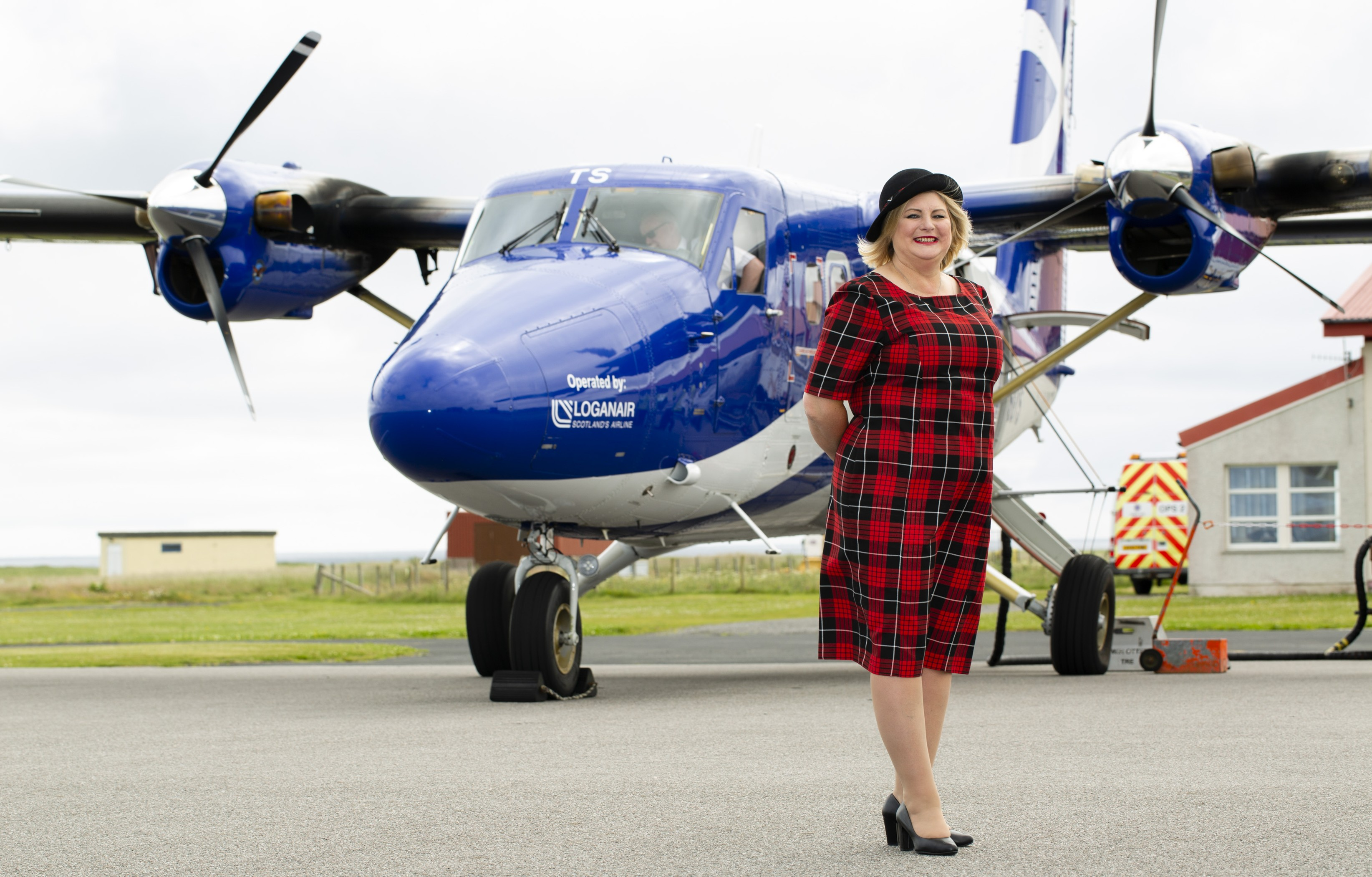 Tish MacKinnon at Tiree Airport where she has worked for more than 40 years.