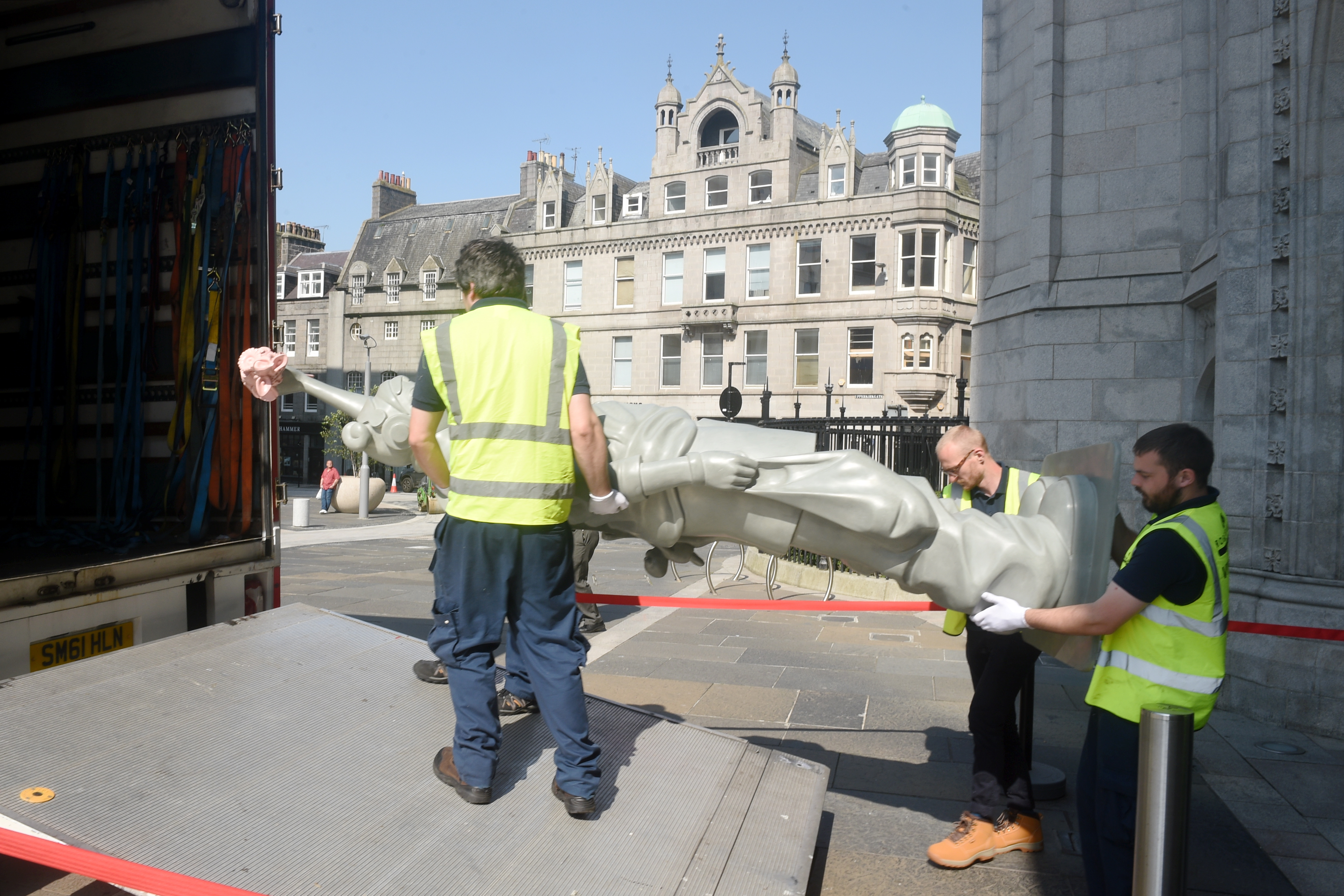 Pictured is artwork being loaded into a van at Marischal College, Broad Street, Aberdeen. The artwork is to be taken to the Aberdeen Art Gallery. Picture by DARRELL BENNS   26/07/2019
