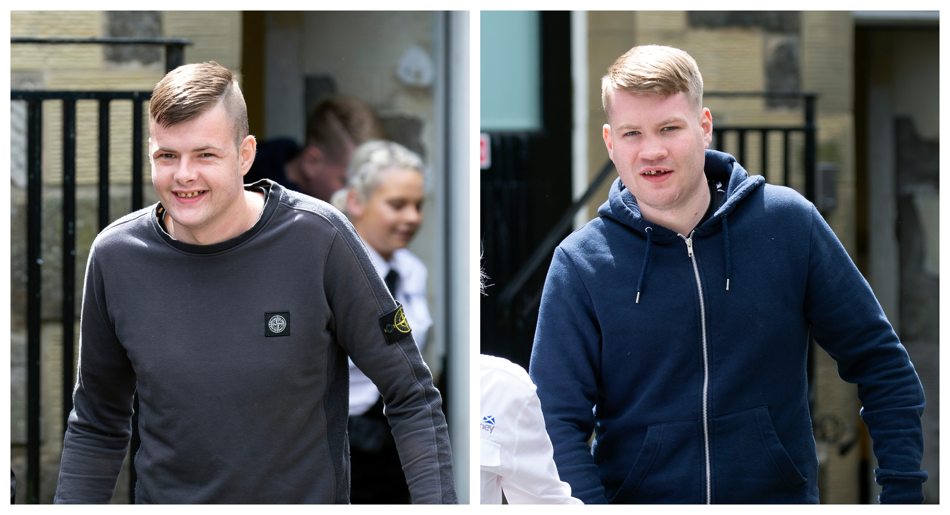 Liam Macdonald (L) is led from court after being jailed robbery offences with co-accused Shaun McLeod (R).