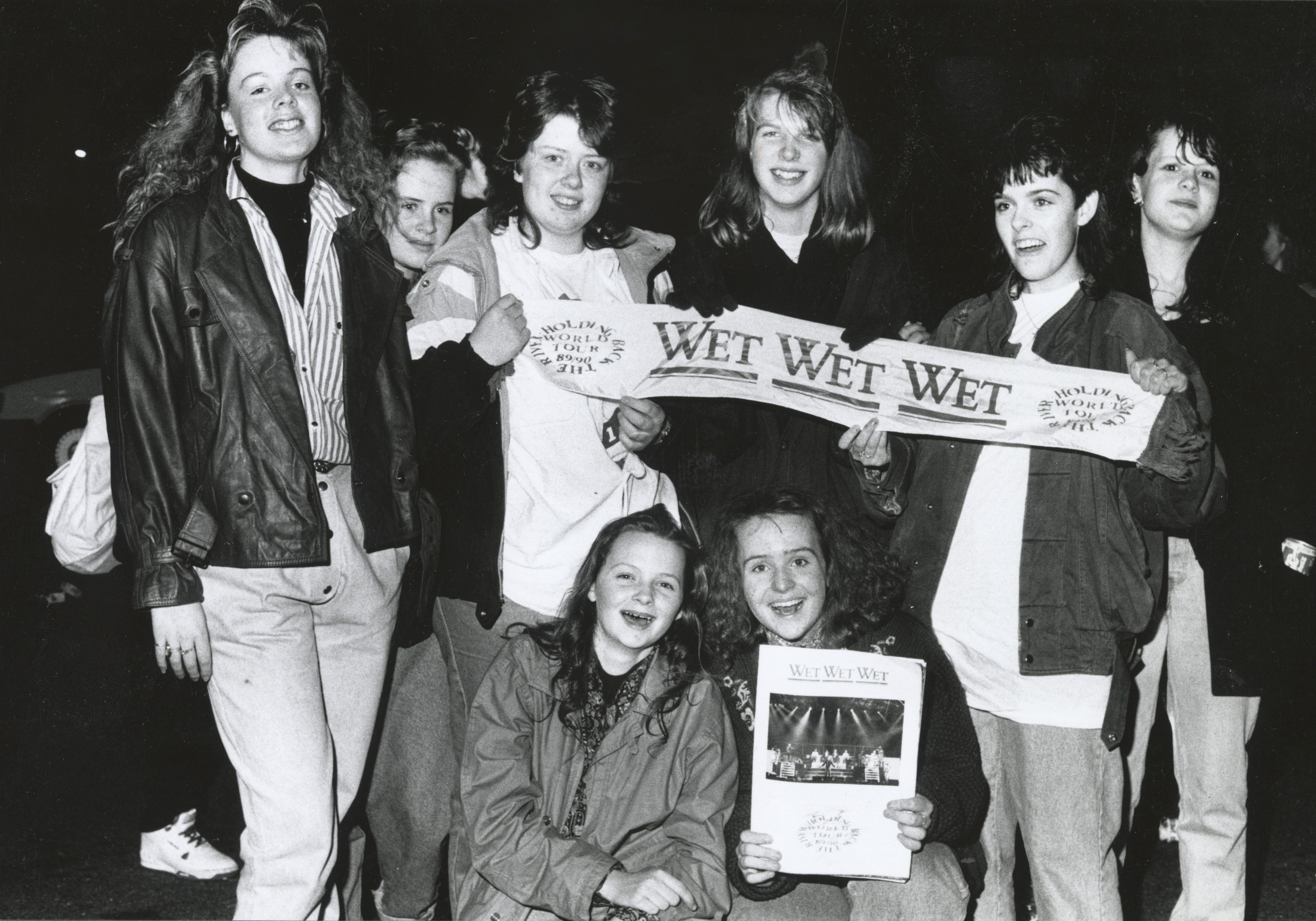 A group of happy female fans of Wet Wet Wet with (far left) Linda Ewen (14) and (far right) Karen Aitken (16), both Banchory.